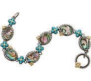 Barbara Bixby Sterling/18K Abalone Doublet & Turquoise 6-3/4 Bracelet - J355716