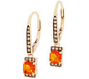 Asscher Cut Fire Opal and Diamond Drop Earrings, 0.35 cttw, 14K - J357216