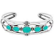 American West Sterling Silver Five Stone Blue Green Turquoise Cuff - J357416