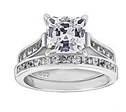 Diamonique 3.85 cttw Ring Set, Platinum Clad - J377616