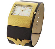 Womens Wonder Woman Brown Leather Cuff Watch - J379016