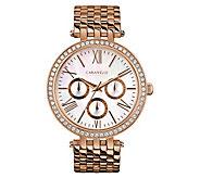 Caravelle Womens Rosetone Stainless Crystal Bracelet Watch - J383316