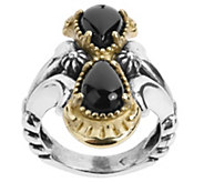 American West Sterling Brass Luna Black Agate Ring - J392616