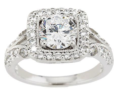 qvc wedding rings epiphany diamonique w cushion halo milgrain ring 6936