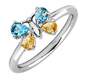 Simply Stacks Sterling Blue Topaz & Citrine Butterfly Ring - J299217