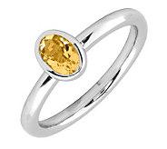 Simply Stacks Sterling & Oval Citrine Ring - J299417