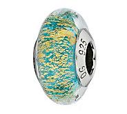 Prerogatives Turquoise/Gold Italian Murano Glass Bead - J300417