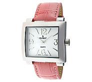 Peugeot Womens Silvertone Pink Leather Strap Watch - J304117