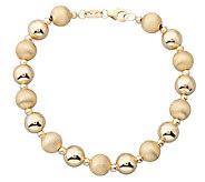 EternaGold 7 Polished & Florentine Bead Bracelet, 14K Gold - J337417