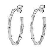 Stainless Steel Polished Bamboo Hoop Earrings - J337817