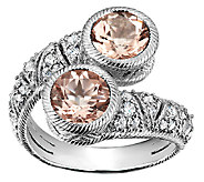 Judith Ripka Sterling  Morganite & Diamonique Bypass Ring - J340017