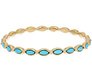 As Is 14K Gold Sleeping Beauty Turquoise Round Bangle - J347717