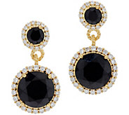 Judith Ripka 14K Clad Black Spinel & Diamonique Earrings - J350117