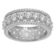 Diamonique Textured Eternity Band Ring Sterling - J355117