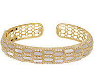 Judith Ripka 14K Gold Clad Mother of Pearl & Diamonique Cuff - J357017