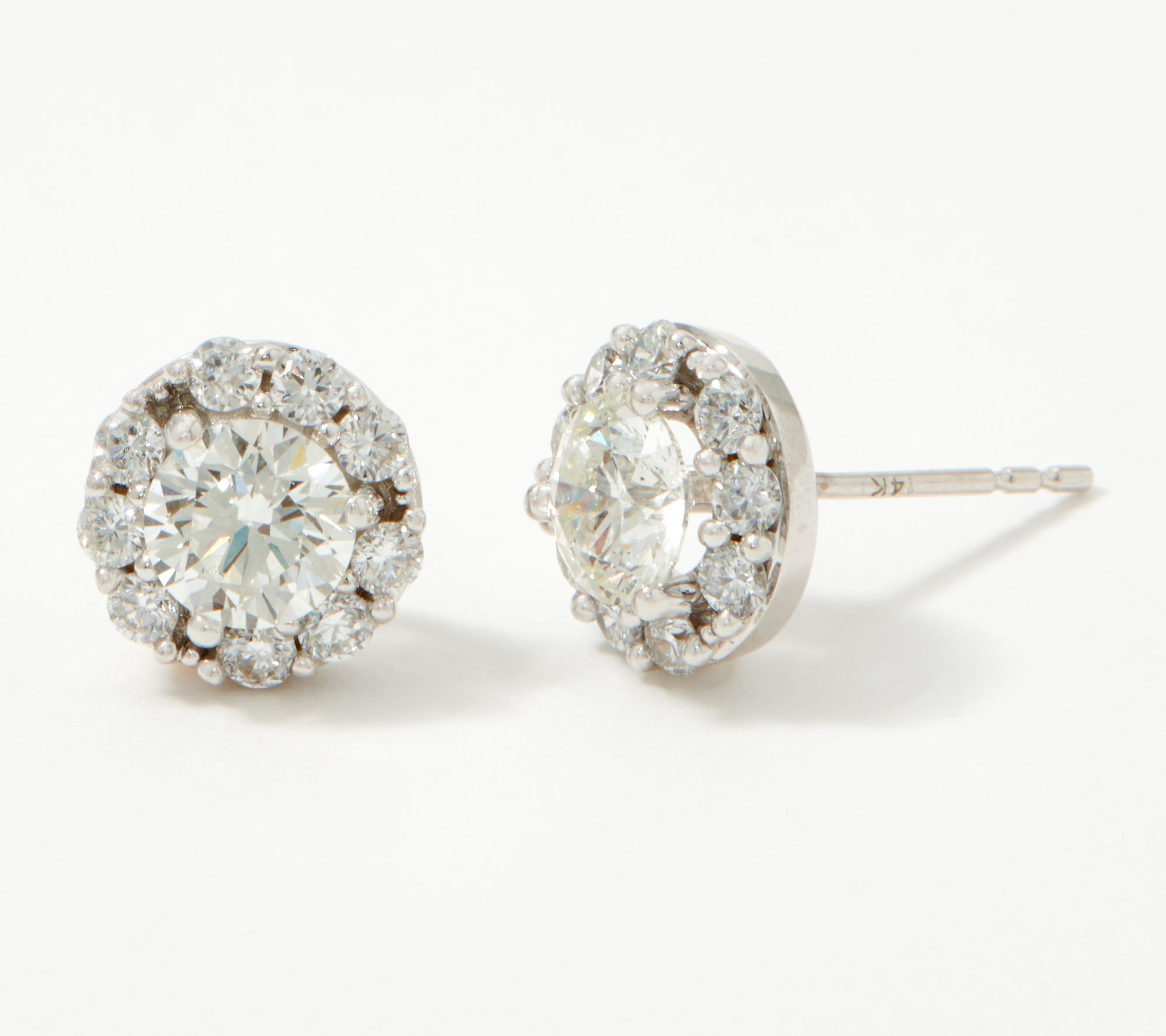 T.W 14k Yellow Gold 2.50 ct Round-Cut Created Diamond Solitaire Earrings