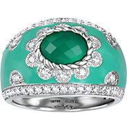 Judith Ripka Sterling Green Chalcedony Diamonique Enamel Ring - J375617