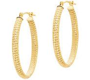 EternaGold 1-1/8 Diamond-Cut Oval Hoop Earrings, 14K Gold - J386217