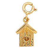 14K Yellow Gold 3-D Bird House Charm - J108018