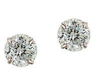 Diamonique 3.50 ct tw 100-Facet Stud Earrings,1 4K Gold - J110218