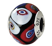 Prerogatives Sterling Black Multi Italian Murano Glass Bead - J111818