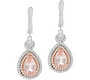 Diamonique and Simulated Morganite Earrings, Sterling - J349918