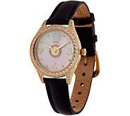 Diamonique Round Watch with Leather Strap - J351218