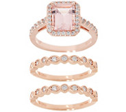 Diamonique Simulated Morganite Three Ring Set, 14K Rose Clad - J356218