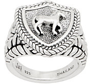 JAI Sterling Silver Carved Equestrian Signet Ring - J359618