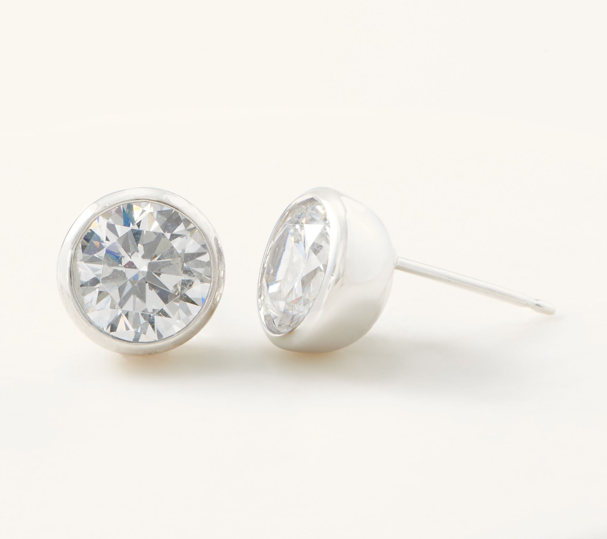 b13cfc0f8 Diamonique 4.00 ct Bezel Set Stud Earrings, Sterling Silver - Page 1 — QVC .com