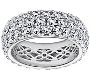 Diamonique 5.45 cttw Three-Row Band Ring, Platinum Clad - J380518