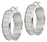 Italian Silver 1 Glimmer Round Hoop Earrings - J382918