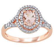 14K 0.70 cttw Morganite & 1/4 cttw Diamond HaloRing - J392318