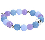 Carolyn Pollack Sterling and Gemstone Beaded Stretch Bracelet - J392618