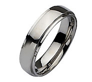 Stainless Steel Ridged Edge 6mm Polished Ring - J107819