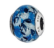 Prerogatives Blue Rose Glitter Italian Murano Glass Bead - J300219