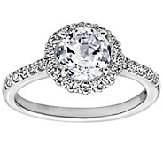 Diamonique 1.75 cttw 100 Facet Halo Ring, Platinum Clad - J304019