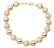 EternaGold 7-1/2 Polished & Florentine Bead Bracelet, 14K - J337419