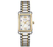 Bulova Womens Stainless Steel Two-Tone CrystalBracelet Watch - J339019
