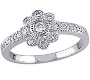 Floral Diamond Ring, 14K White Gold, 1/4 cttw,by Affinity - J344019