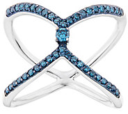 Blue Diamond Cross-over Ring, Sterling, 1/3 cttw, by Affinity - J344119