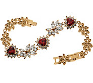 Grace Kelly Collection Simulated Diamond & Ruby Hearts Bracelet - J346319