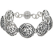 Or Paz Sterling Silver 6-3/4 Swirl Circle Link Bracelet 22.0g - J350319