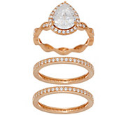 Diamonique Pear Cut Bridal Ring Set, Sterling - J351219