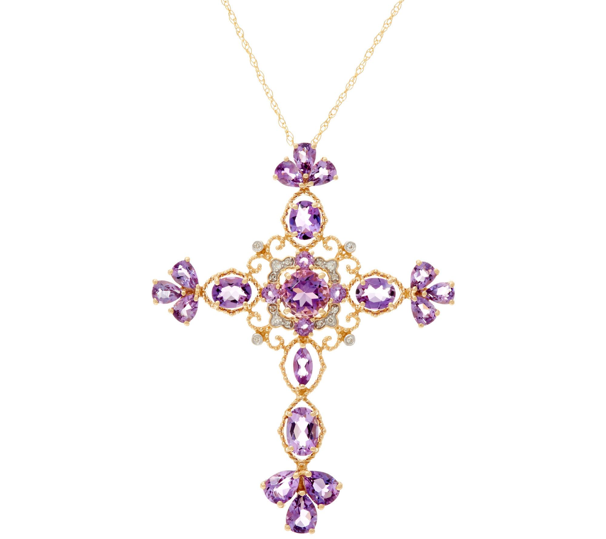 As isamethyst or london blue topaz cross pendant on 18 chain 14k as isamethyst or london blue topaz cross pendant on 18 chain 14k gold qvc mozeypictures Gallery