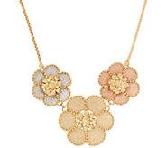 Italian Gold 20 Tri-color Floral Necklace, 14K Gold - J355719