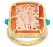 Judith Ripka Verona 14K Clad & Turquoise Cameo Ring - J356719