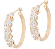Diamonique 5 Stone 3/4 Hoop Earrings, 14K Gold - J357619