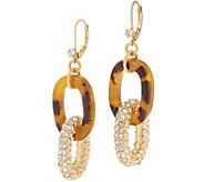 John Wind Simulated Tortoise and Pave Link Earrings - J357919