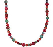 American West Sterling Orange & Green BeadNecklace - J375519